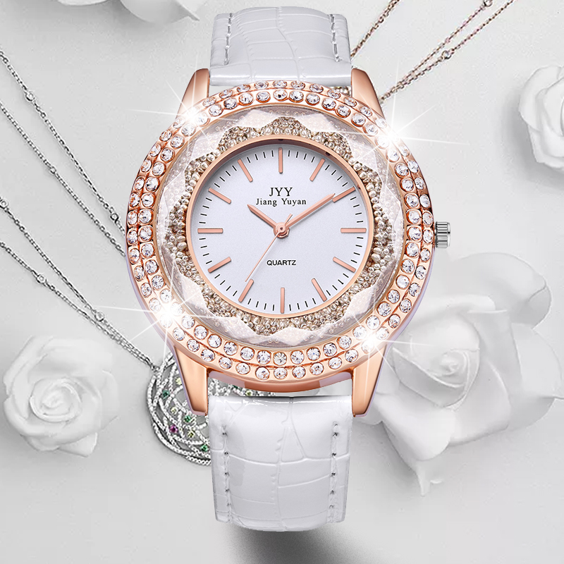 HOT SAEL  New Fashion Ladies Leather Crystal Diamond Rhinestone Watches Women Beauty Dress Quartz Wristwatch Hours Reloj Mujer