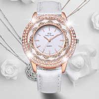 HOT SAEL  New Fashion Ladies Leather Crystal Diamond Rhinestone Watches Women Beauty Dress Quartz Wristwatch Hours Reloj Mujer