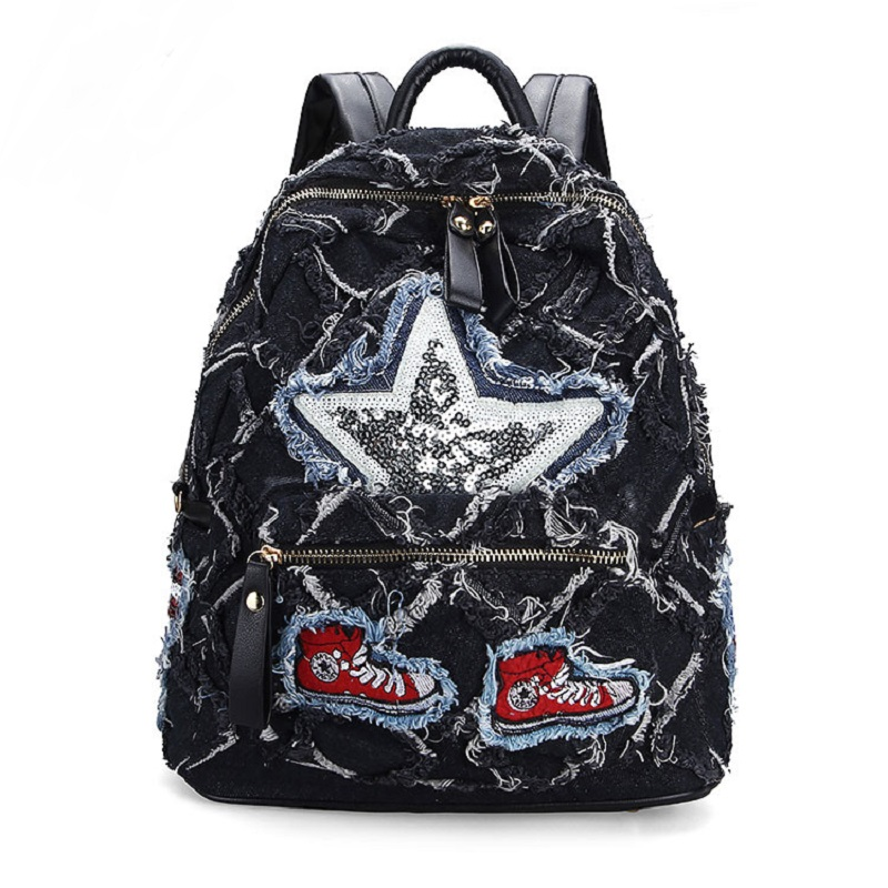 Vintage Casual Preppy Style Appliques Broken Denim Backpack School Bags Jeans Women Daypacks CrossBody bag bolsa