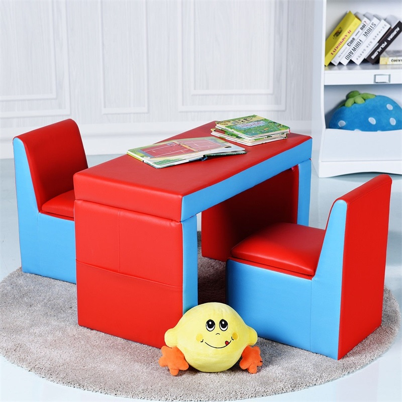 Multi-functional Kids Sofa Table Chair Set 2 IN 1 Design Storage Box Under The Seat Child Sized Sofa Kids Sofa HW58620