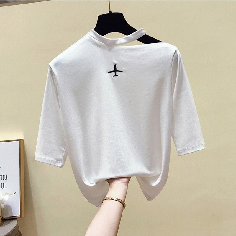 Embroidery T Shirt Women Summer Tops Short Sleeve Tshirt Women Cotton T-Shirt Korean Tee Shirt Femme Camisetas Mujer Verano 2019