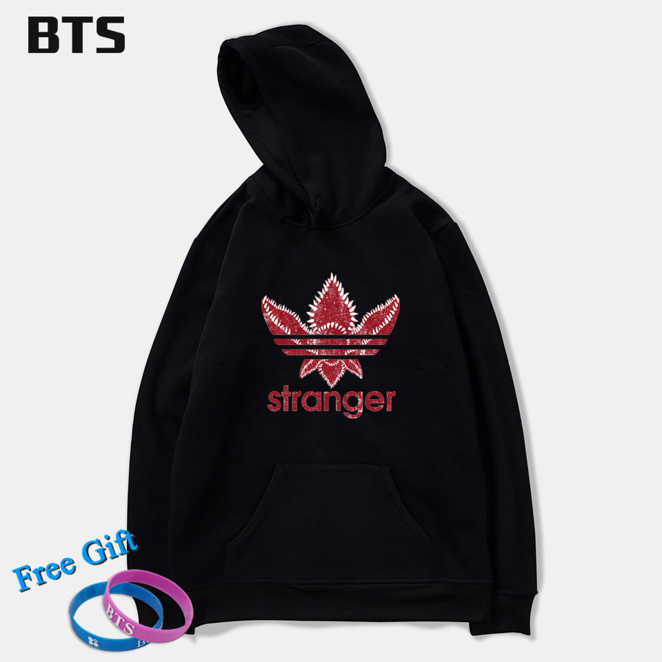 BTS Stranger Things Oversized Hoodie Print Casual New Fashion Hot Sale Creative Winter Hoodies Men Sweatshirts Hooded Pullover