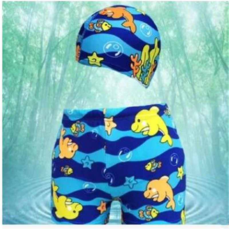 44513b4eb949c Bathing cartoon printing boys shorts beach Children's swimming trunks Suit  swimwear hat dolphins pattern UV protection