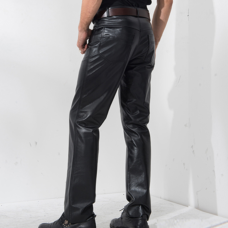 Denny&Dora Men's In Black Genuine Leather Pants Trousers