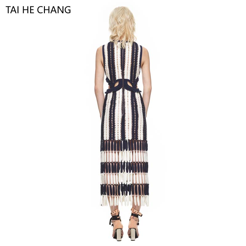 2017 women dress autumn winter new fashion vestidos bodycon sexy party forrmal runway lace crochet hollow out striped long dress