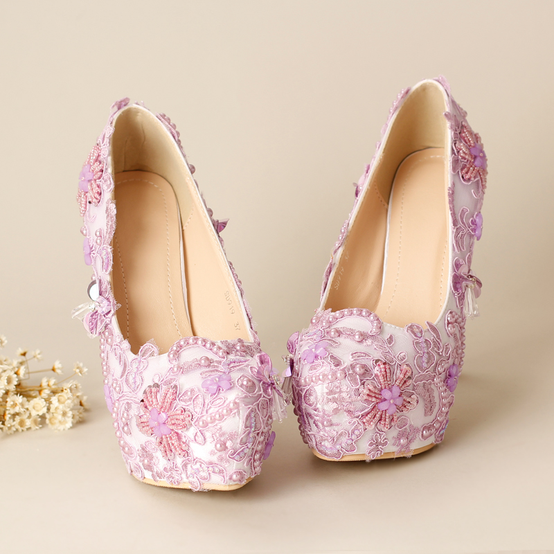 Dream fashion purple lace bridal shoes handmade flower rhinestone sewing shoes wedding shoes font b women