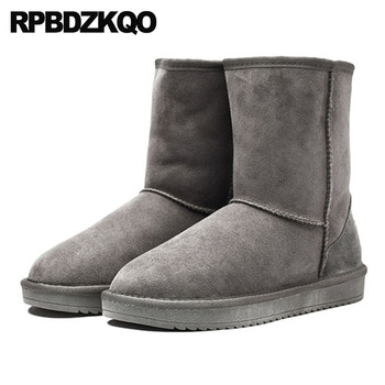 suede real fur snowboot high quality short sheepskin shoes australian snow designer slip on runway ankle winter men boots with