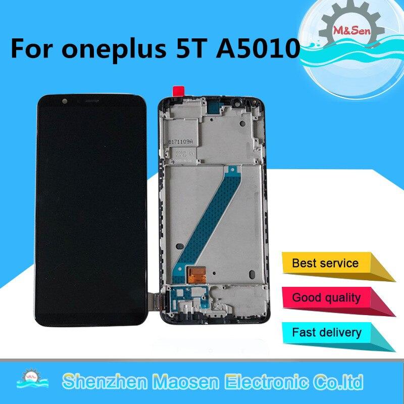 Originais M & Sen Para oneplus 5 T A5010 oneplus 5 A5000 Supor Amoled LCD screen display + digitador touch com frame para oneplus 5 5 t