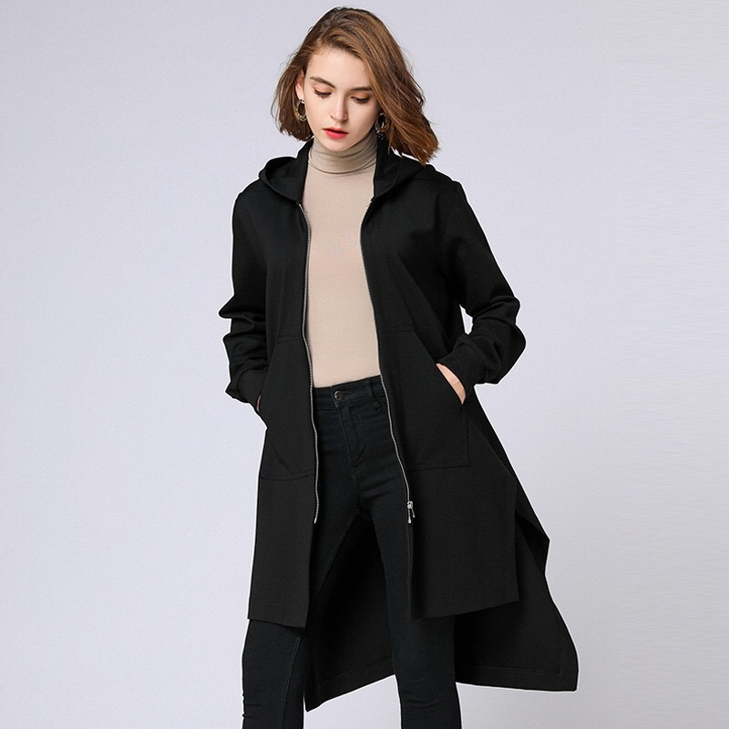 Anya 2018 Winter Woman Coats Loose Maternity Clothes Plus Size Outerwear Lining Pockets Hoodies Long Coats Blasck grey two side pockets long sleeves outerwear