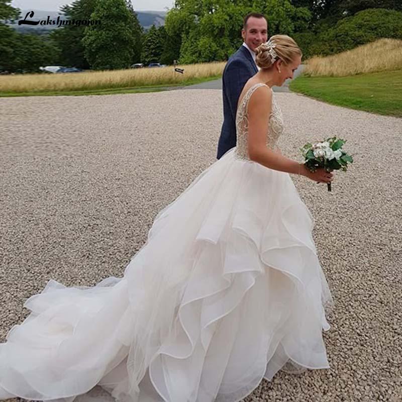 Ruffle Ball Gown Wedding Dress: Romantic Ruffle Skirt Ball Gown Wedding Dresses Crystal