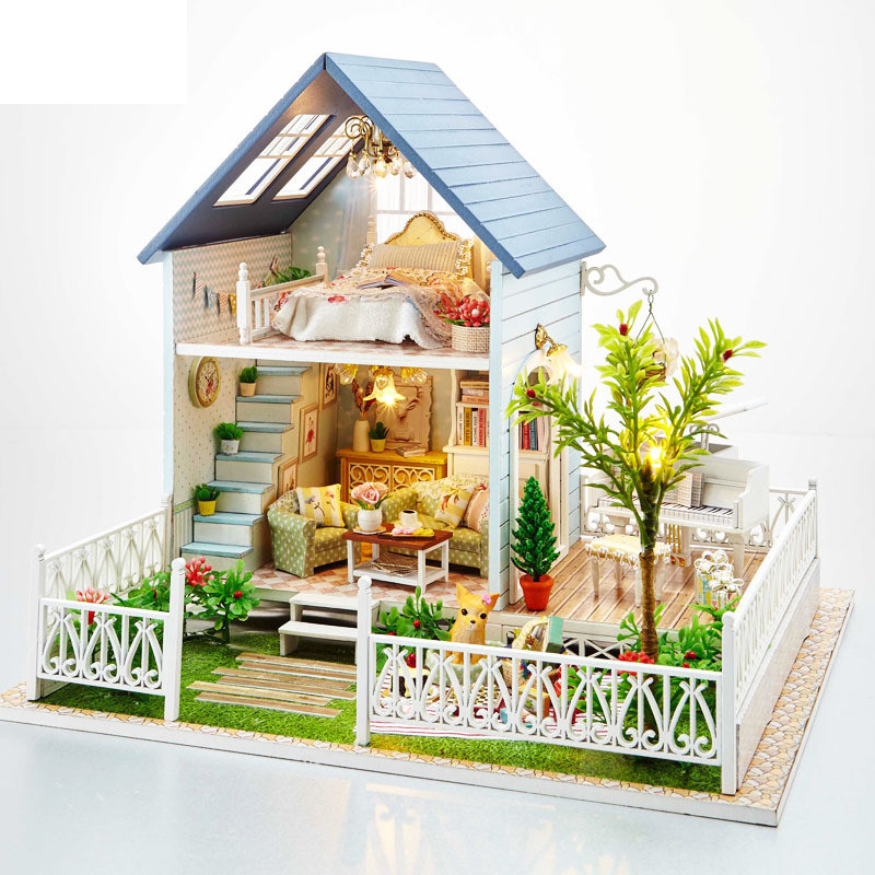 Free Shipping Assembling DIY Miniature Model Kit Wooden Doll House,Nordic Holiday House Toy ,Furniture & Voice-activated Switch free shipping assembling diy miniature model kit wooden doll house house toy with furnitures