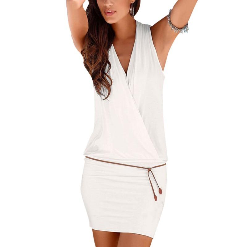2017 النساء ملابس النساء مثير العميق الخامس الرقبة أكمام البسيطة اللباس الصيف شاطئ اللباس مع حزام h1