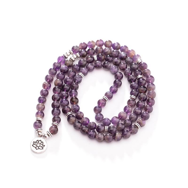 6-8MM Fashion Purple women bracelet 108 mala yoga Howlite Natural Stone with Lotus charm Bracelet