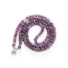 цена 6-8MM Fashion Purple women bracelet 108 mala yoga bracelet Howlite Natural Stone with Lotus charm Bracelet