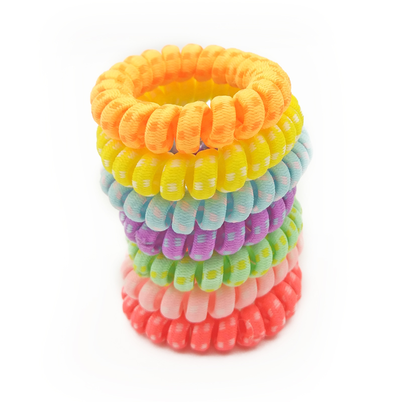 Apparel Accessories 3pcs/lot Fabric Elastic Hair Rubber Band Telephone Wire Line Neon Color Hair Tie Scrunchy Ponytail Holder Accessories Size 5.5cm