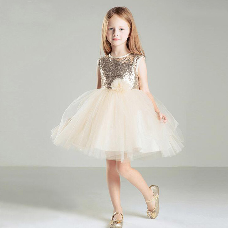 Sequined Girls Ball Gown Dresses Sleeveless Knee Length Flower Girl Dresses Children Girls Vestido with Bow Banquet Clothing 263 new summer style girls dresses fashion knee length beach dresses for girls sleeveless bohemian children sundress girls yellow 3t