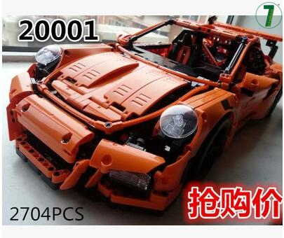 2016 Nueva LEPIN 20001 2704 Unids Serie Técnica 911 GT3 RS Carrera coche Kits de Edificio Modelo Bloques de Ladrillos de Juguete de Regalo coche deportivo 42056 boy