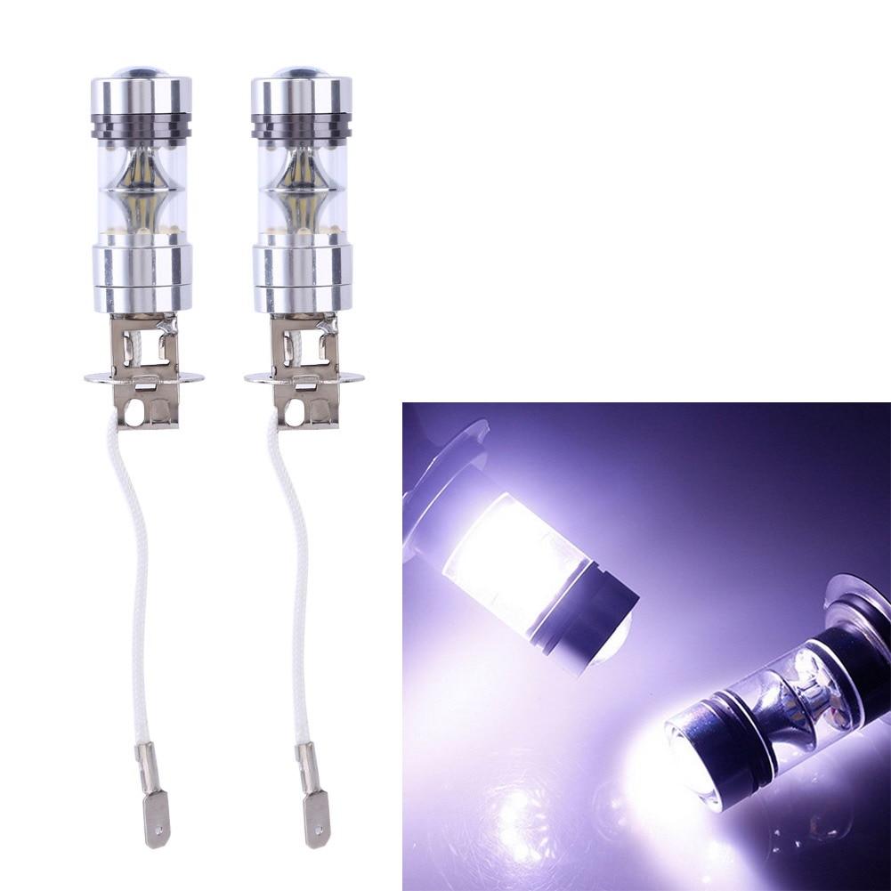 2Pcs 100W H3 1000LM White LED Car Auto DRL Parking Driving Running Lamp Fog Light Head Lamp 20 LED DRL Daylight Kit 100 1000 3 100