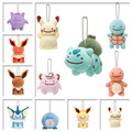 11pcs/set Pocket Monster Plush Toys Ditto Cos Pikachu Gengar Eevee Jolteon Flareon Poliwag Plush Pendants With Keychain 6-9cm