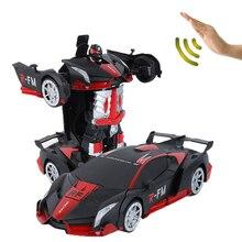 Neue Spielzeug 2019 1/12 Radio Control Autos Mit Licht Und Musik Frosted Stil Geste Sensor rc Auto Transformation Roboter Auto