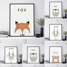 Nordic Cartoon Animal Canvas Painting Mural Wall Art Poster Sticker Decoration for Childrens Room Unframe