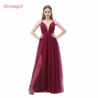 Borgoña 2018 Celebrity Vestidos a-line spaghetti Correas tulle hendidura espalda abierta largo atractivo Vestidos de noche rojo Alfombras Vestidos