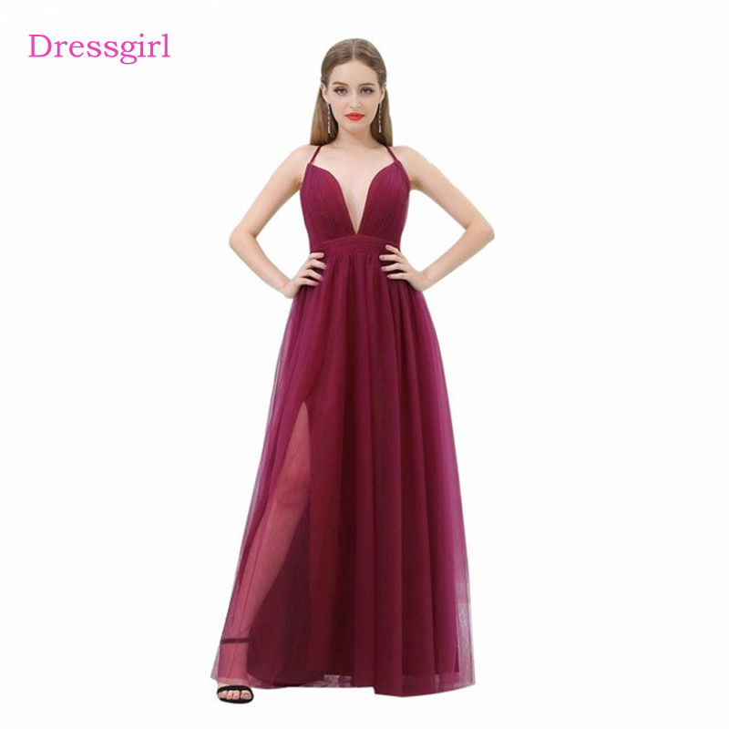 Burgundy 2018 Celebrity Dresses A line Spaghetti Straps Tulle Slit Open Back Sexy Long Evening Dresses Red Carpet Dresses