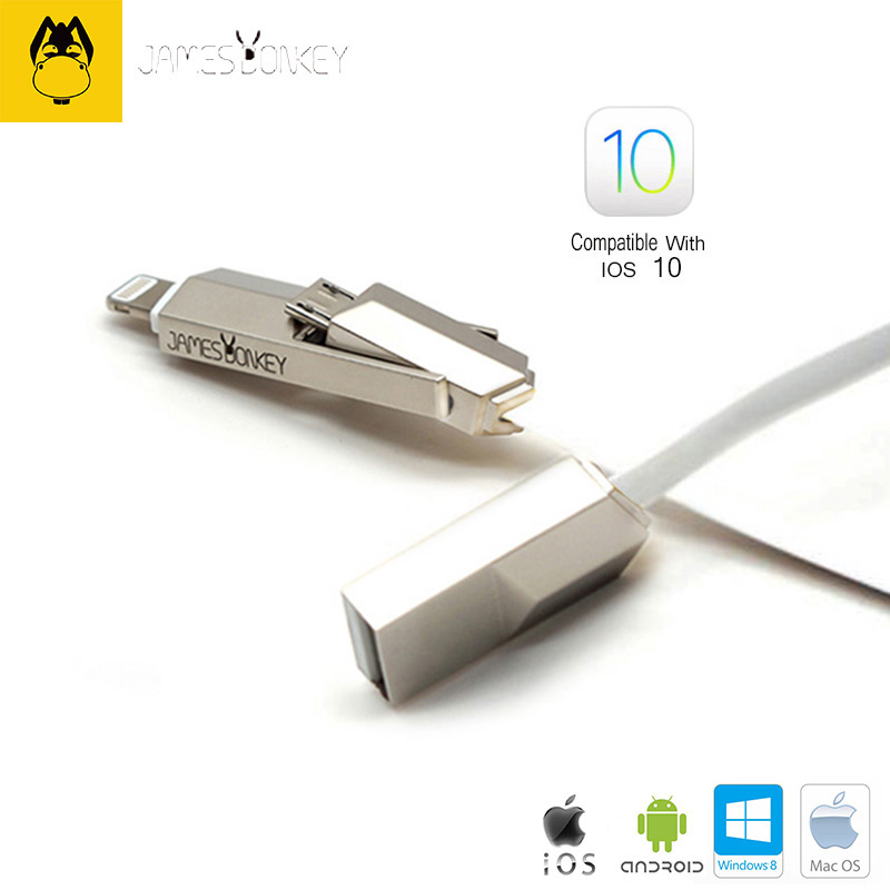 Newest James Donkey 362 For iPhone iOS 10 7/ 6/ 6s / For iPad Cable Mac Air PC Android 2 in 1 USB Phone Fast charging Data Line