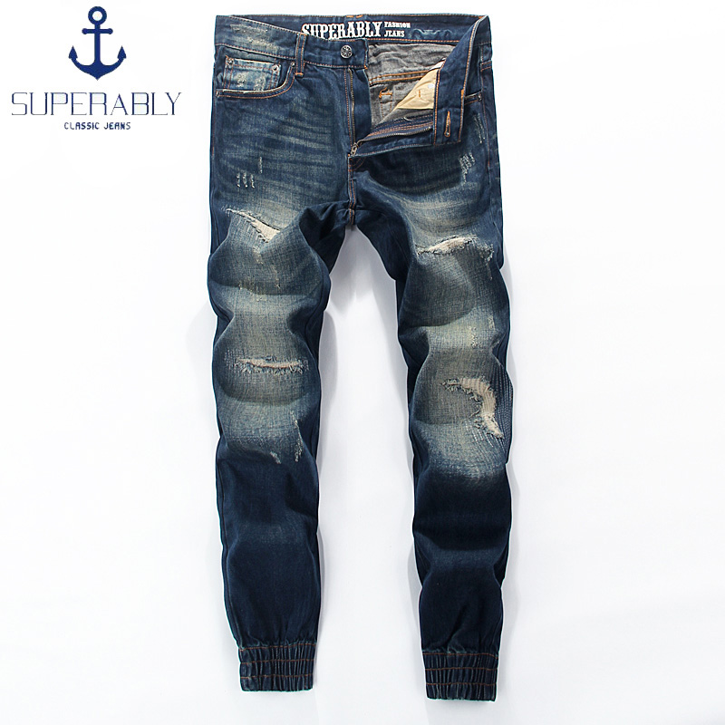 Superably Brand Fashion Mens Jeans Jogger Pants Blue Color Denim Ripped Jeans Men Slim Fit Leg Open Ankle Banded Feet Jeans 2017 slim fit jeans men new famous brand superably jeans ripped denim trousers high quality mens jeans with logo ue237