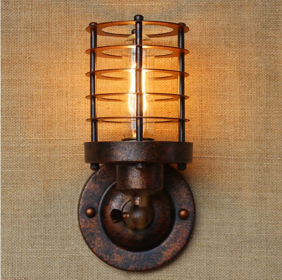 40W American Retro Vintage Wall Lamp Bedroom Rust Iron Loft Industrial Wall Sconce LED Stair Light Lamparas De Pared