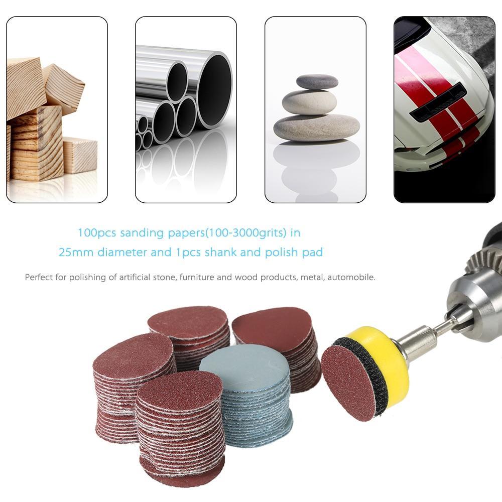 "A 100PCS abrasive tools 1"" 100-3000 dremel accessories Grit Paper Sander Disc Sanding Disk +1inch Polish Pad Plate + 1/8"" Shank"