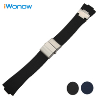 25mm X 12mm Silicone Rubber Watch Band For Ulysse Nardin 263 Marine 1183 Observatory Blue Seal