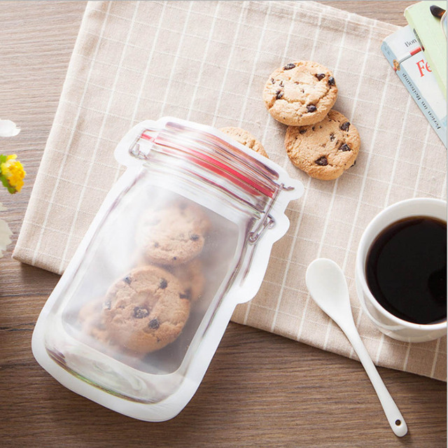 Mason Jar Shaped Food Container Plastic Bag Clear Mason Bottle Modeling Zippers Storage Snacks Plastic Box Wholesale