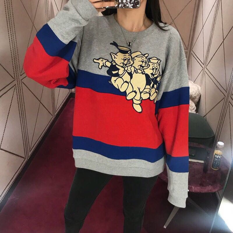 S01655 Fashion women's Hoodies & Sweatshirts 2019 Runway Luxury Brand European Design party style women's Clothing