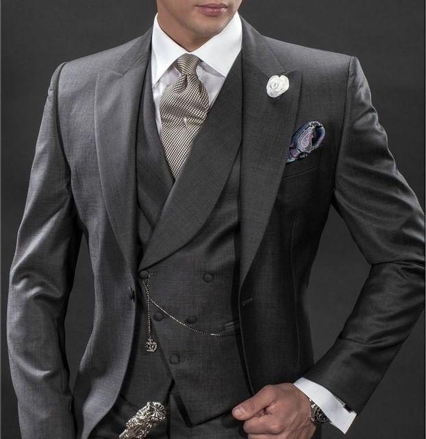 666b7fa382 2017 Latest Coat Pant Designs Italian Grey Men Suit Double Breasted Slim Fit  3 Piece Tuxedo Custom Blazer Formal Suits Masculino