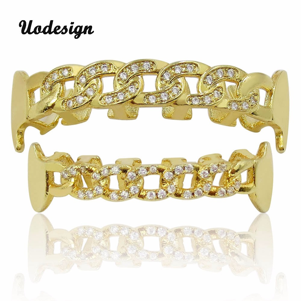Hip Hop Custom Fit Vampire Chain Crystal Teeth Grillz Gold Mouth GRILLZ Caps Top& Bottom Grill Set Party Gift topgrillz hip hop grillz iced out aaa zircon fang mouth teeth grillz caps top