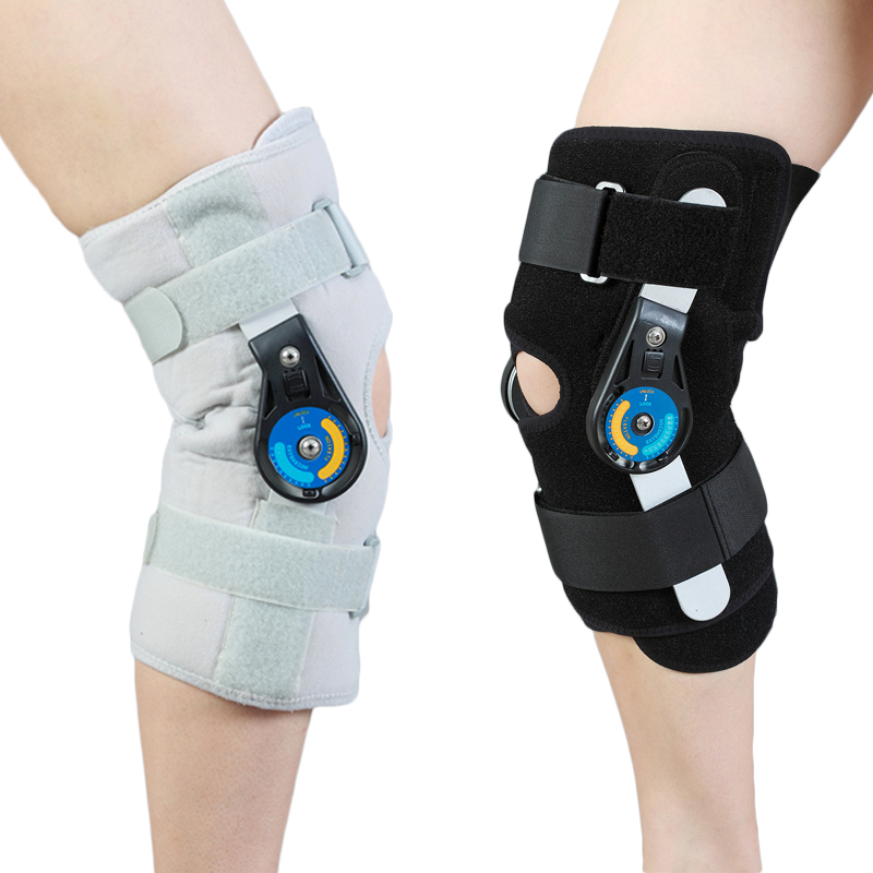 ROM Patella Knee Braces Support Pad  Orthosis Belt Hinged Adjustable Short Knee joint lateral stability Prevent hyperextension adult adjustable knee orthosis knee support with bilateral hinges medical articulated knee brace patella compression kneepad