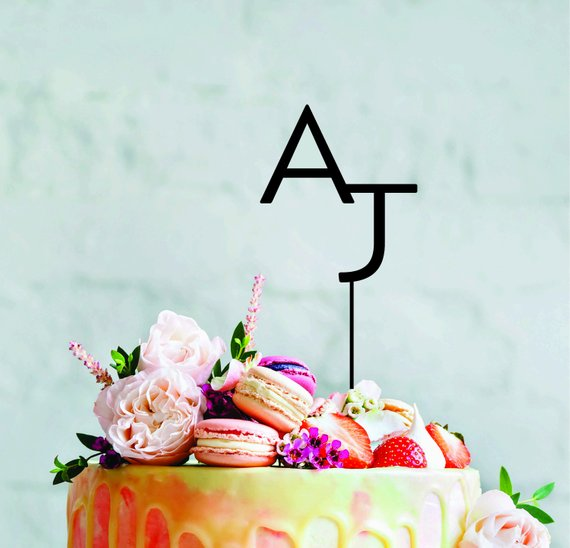 Custom Monogram cake topper initials personalised wedding cake toppers bride & groom acrylic cake topper decorations
