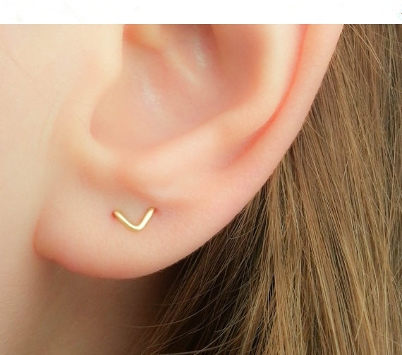 Us 7 99 15 Off Pinjeas Filling Two Hole V Earrings Handmade Double Piercing Chevron Ear Cuff Minimalist Cute Jewelry In Stud From