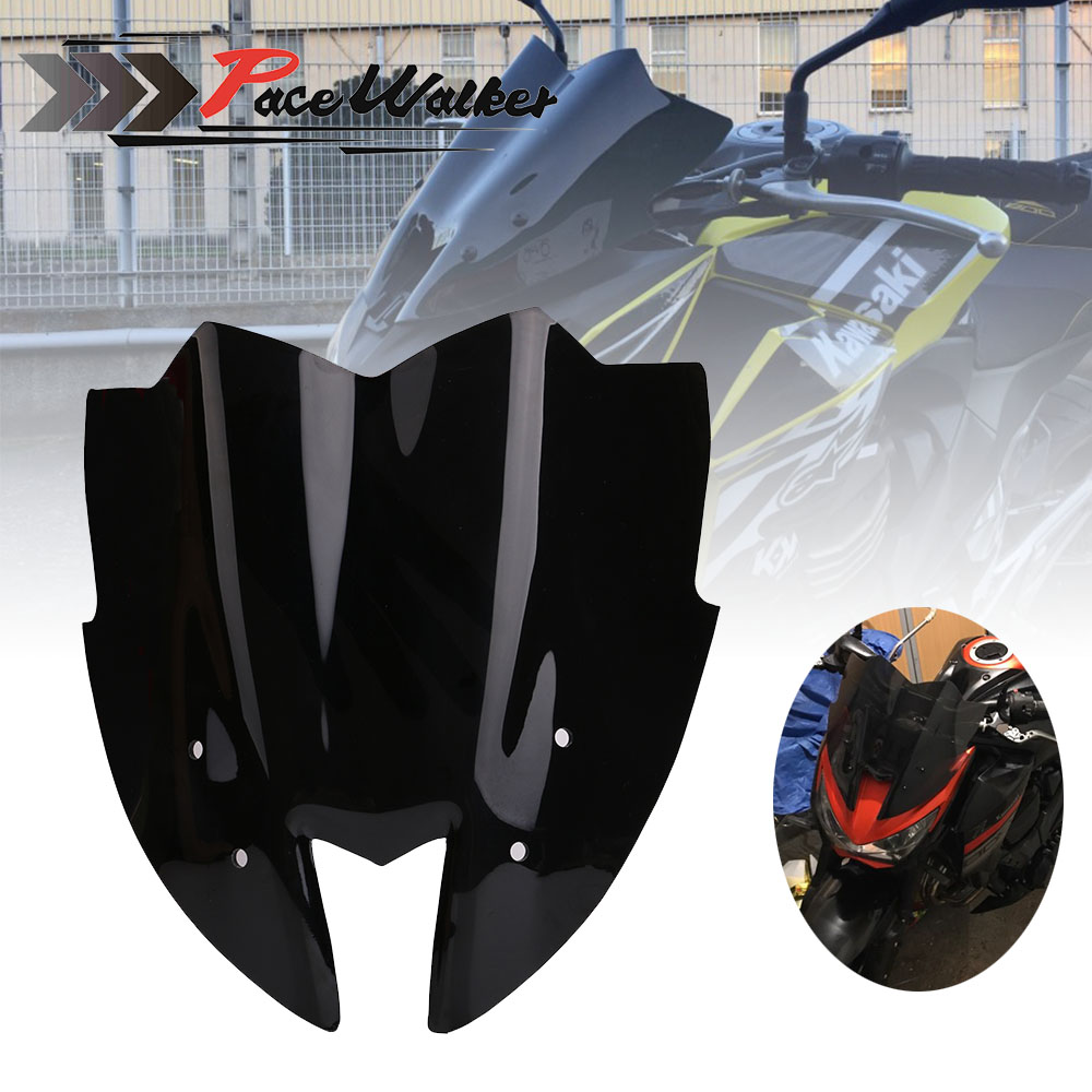 Free Shipping Black Motorcycle Windshield WindScreen Viser VIsor Front Glass For Kawasaki Z800 2014 2015 2016