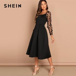 Image 2 - SHEIN Nacht Heraus Kontrast Mesh Appliques Plissee Square Neck Knielangen Kleid Herbst Moderne Dame Arbeitskleidung Frauen Kleider