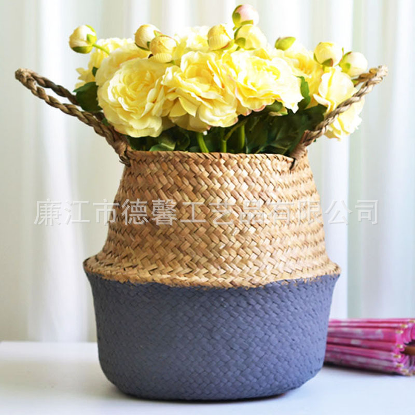 Bamboo Storage Baskets Foldable Laundry Straw Patchwork Wicker Rattan Seagrass Belly Garden Flower Pot Planter Handmade Basket