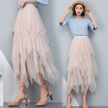 Women irregular Tulle Skirts Fashion Elastic High Waist Mesh Tutu Skirt Pleated Long Skirts Midi Skirt Saias Faldas Jupe Femmle 2