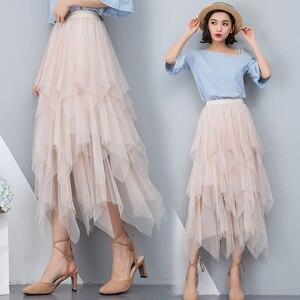 Image 3 - تنورات نسائية غير منتظمة من التول موضة مرنة عالية الخصر تنورة شبكية ذات ثنيات تنورات طويلة تنورة ميدي تنورة Saias Faldas Jupe Femmle