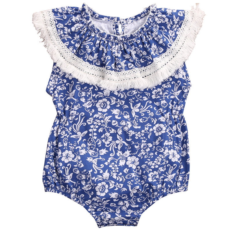 Hot sales Toddler Infant Baby Girls Clothes Jumpsuit Floral Sleeveless Romper Outfits Sunsuit Baby Clothing 0-24M