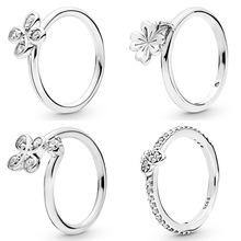 d1a969159 Bedazzling Butterfly Hanging Clover Four-petal Flower Ring 925 Sterling  Silver Ring For Women Wedding Diy Pandora Jewelry