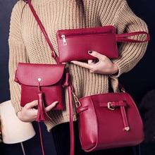 Messenger Bag Women Four Set Fashion Handbag Shoulder Bag Four Pieces Tote Bag Crossbody Bag studded transparent 2 pieces crossbody bag set