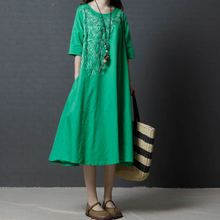 2019 New Summer dress Vintage long Dress Loose  cotton Linen embroidered Women Vestidos Robe Dresses
