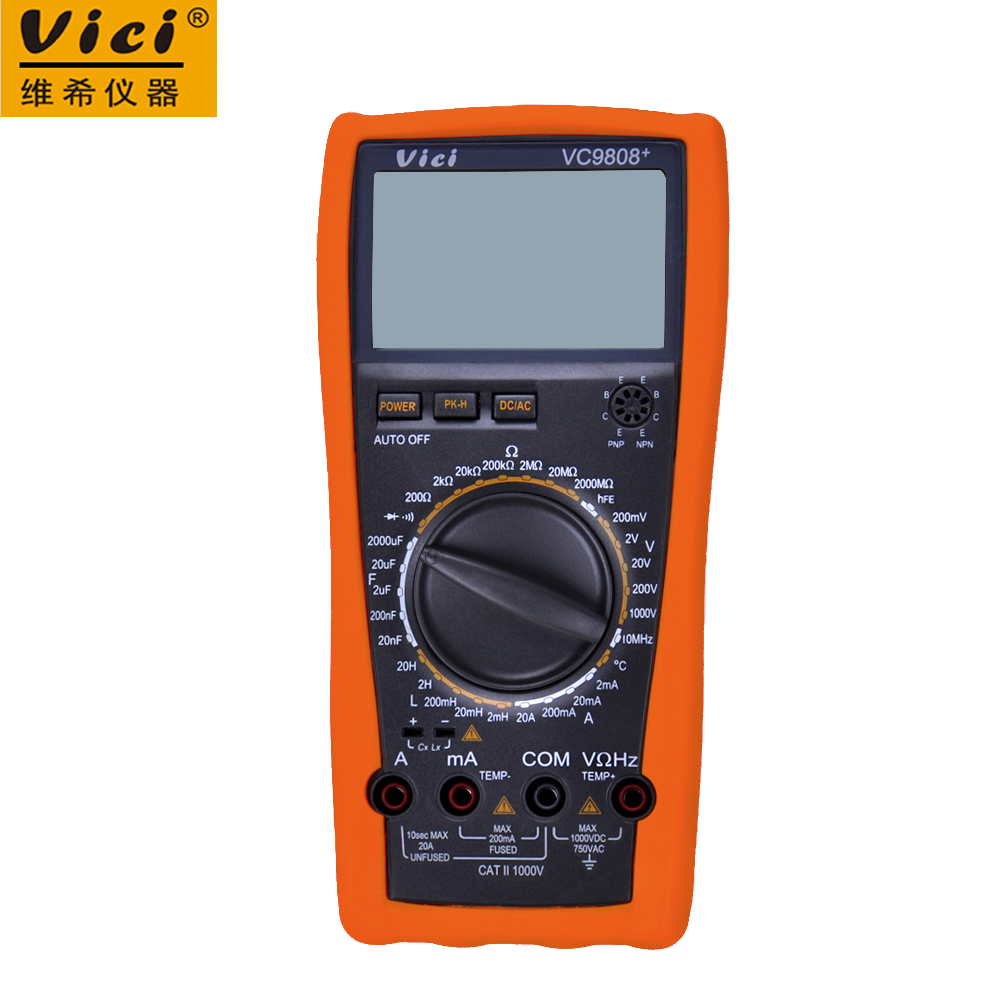 VICI VICHY VC9808+ LCD display digital Multimeter Electrical Meter Inductance Res Cap Freq Temp AC/DC Ohmmeter Inductance Tester high quality victor digital multimeter 4 1 2 t rms res cap freq diode continuity vc980