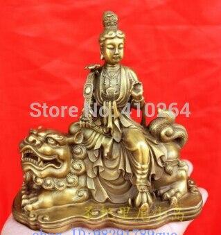 [old Craft ] Chinese Bronze Manjusri Manjushri Bodhisattva Buddha Statue 5.2